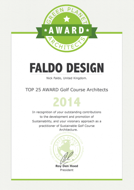 Faldo Design top 25 award golf course